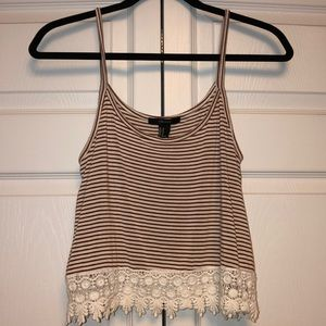 Stripped lace tank top